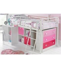 Child's midi sleeper with mattress and set of pink drawers and pink cube unit