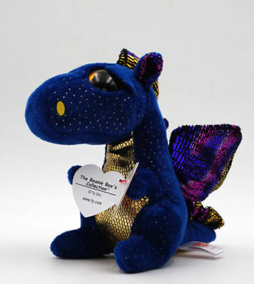 6  Ty Beanie Boos Glitter Eyes Plush Toy With Tag Saffire Dragon Soft Deep Blue