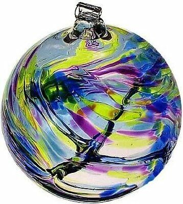 "September Birthday Wish Birthstone Witch Ball Ornament 6"" by Kitras Art Glass"