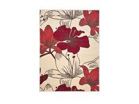 Lovely Bright Red / Cream Floral Large Rug