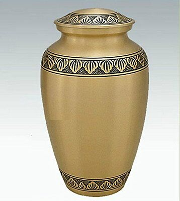 ADULT GOLD CREMATION URNS, LARGE NEW FUNERAL URN FOR HUMAN ASHES