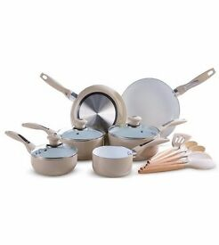 Brand New Boxed Mocha ceramic pot and pans set with utensils