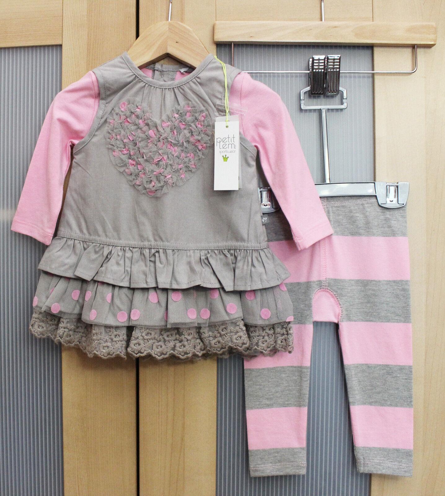 NWT Petit Lem Baby Girl Tulle Tunic and Legging Set, Gray/Pi