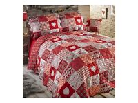 Festive Stag Bedspread Red King Size with Pillowshams & Cushion BN