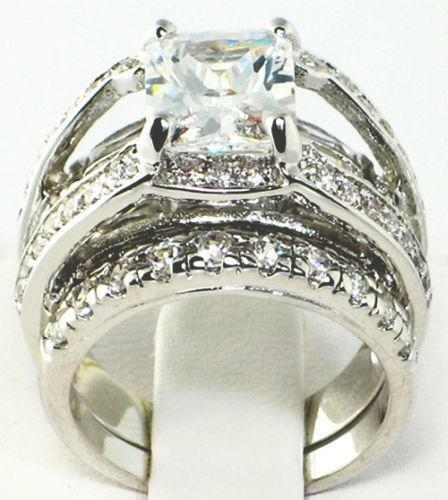 Emerald Cut CZ Wedding Sets