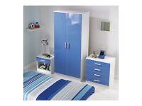 Boy's bedroom set 2 door wardrobe / 4 drawer chest/ bedside cabinet blue white