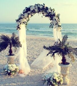 Wedding arch decorations ebay 75ft white metal arch for wedding party bridal prom garden floral decoration junglespirit Images