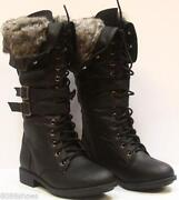Womens Black Knee High Lace Up Boots