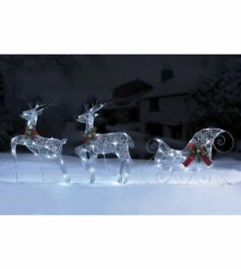 Silver Led Lights Reindeer Deer Sleigh Outdoor Garden Christmas Decoration Xmas