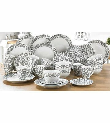32 pc Grey White Daisy Tea Dinner Set Service Crockery Porcelain Round