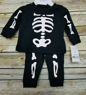 Carter's Skeleton Newborn 2 Piece Set Black White Bones Halloween Costume NWT