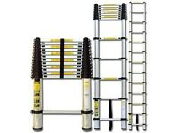 3.8m Telescopic pop-up extending ladders ; loft roof flat boot office van caravan anti theft
