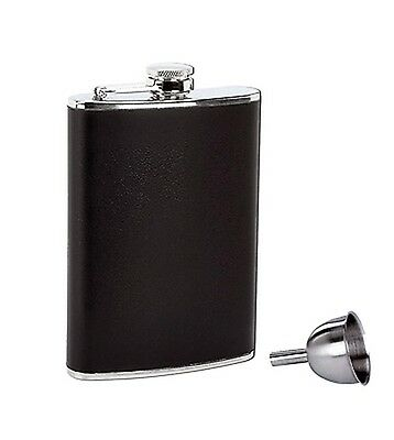 New BLACK 8oz Stainless Steel Flask & Funnel Screw Cap Liquor Hip Pocket Alcohol