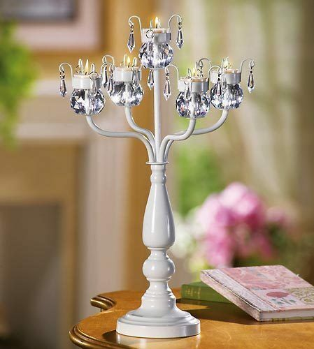 5-WHITE-Crystal-Beaded-chandelier-candelabra-Candle-Holder-wedding-centerpiece