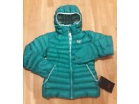 LADIES ARCTERYX CERIUM LT SMALL SIZE DOWN JACKET WITH HOOD *RRP £280 BRAND NEW WITH TAGS*