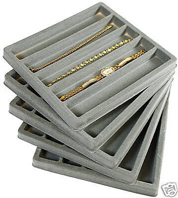 5 Gray Tray and Case Display Organizer Inserts 5 Slot Jewelry Watch Bracelet