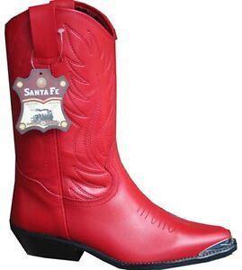 Ladies Red Cowboy Boots 100 Genuine Leather Western Line