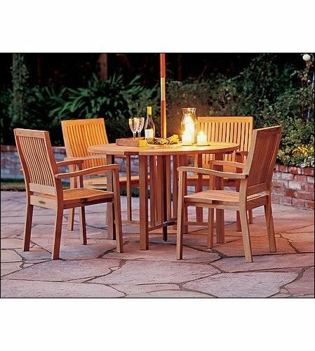 "5-piece Outdoor Teak Dining Set: 48"" Butterfly Table, 4 Stacking Arm Chairs Leve"