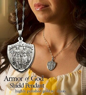 Whole Armor of God Shield Pendant Necklace (Highly polished) - Armor Of God Necklace