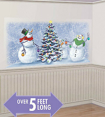 SNOWMEN trimming tree Scene Setter Christmas holiday party wall decor Frosty 5'