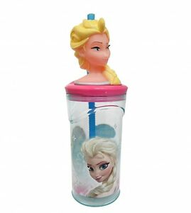 disney frozen elsa 39 3d kopf 39 flasche mit strohhalm brandneu geschenk ebay. Black Bedroom Furniture Sets. Home Design Ideas