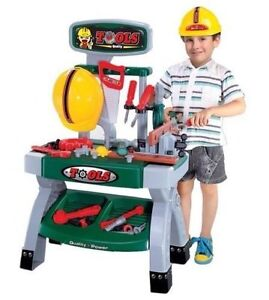 CHILDRENS TOY WORK BENCH WORKBENCH and 45 PLAY TOOLS &  BUILDERS HARD HAT 00881