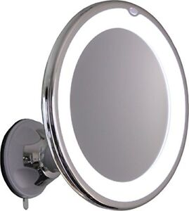 10x magnifying lighted makeup mirror with chrome finish locking suction mount