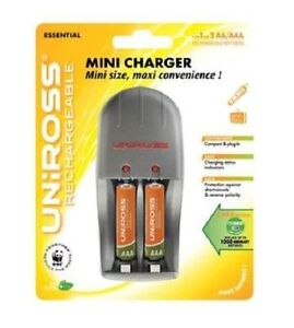 Uniross Mini Aa Aaa Rechargeable Battery Charger With 2 X