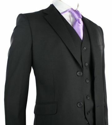 Mens 3 Piece Black Suit Regular Fit Wedding Party Office Prom Formal