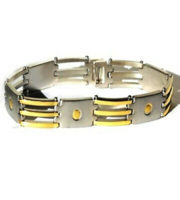 Men's Stainless Steel 9 Inch Screw Design Bracelet With Gold Accents - Gold Screw Accents