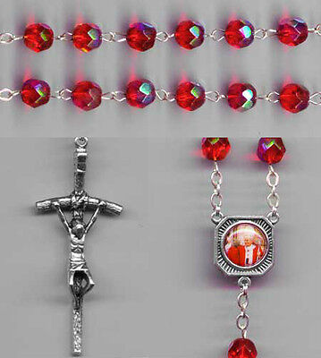 NEW - POPE JOHN PAUL II - Crystal Rosary - Red