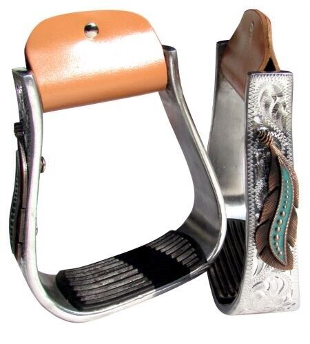Western Stirrups - Silver Engraved - Copper & Teal Feather Design