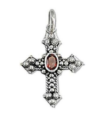 Sterling Silver Bali Hand-Made Facet Garnet Cross - Bali Cross