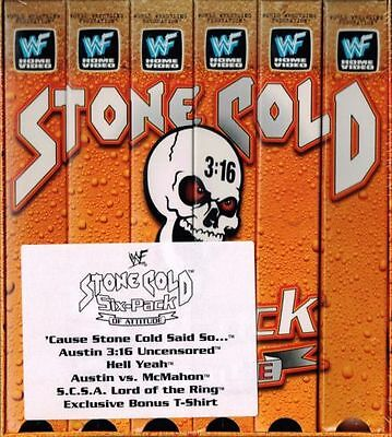 WWF WWE WCW Stone Cold 6 Six Pack of Attitude VHS Box Set New 5 Tapes + Tshirt