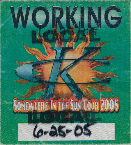 Kenny Chesney ORIGINAL 6/25/2005 Somewhere in the Sun Tour Backstage Crew Pass