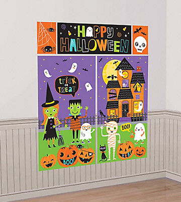 HALLOWEEN Scene Setter kid's party wall decor kit 6' pumpkin ghost haunted house - Kids Halloween Party Decorations