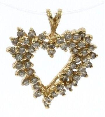 Freeform Diamond Heart pendant in 10k Yellow Gold.
