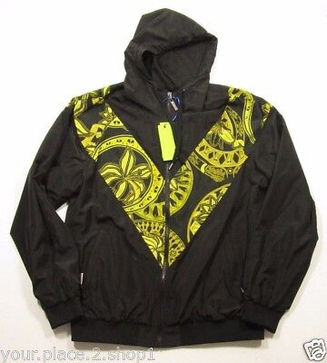 Versace Jeans Couture Men's Black & Gold Full Zip Hooded Windbreaker Jacket