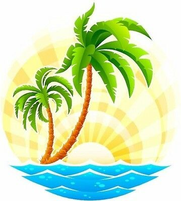 Palm Tree Scene (Tropical palm tree scene decal Camper RV motor home mural)