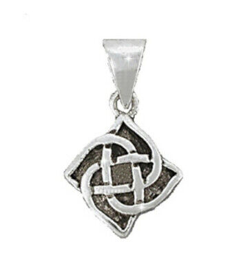 Sterling Silver Celtic Riddle Knot 4 Petal Flower Pendant