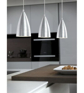 Garetto 3 Light 37 inch Brushed Aluminum Pendant Ceiling Light