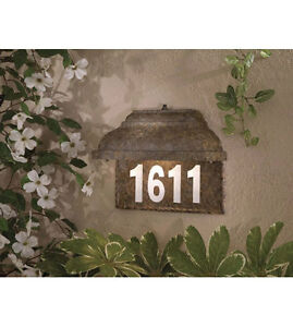 Brand New Lighted Address Plate, Mossoro Walnut and Silver