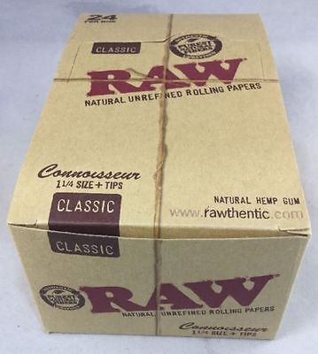 24  Raw Classic Hemp Connoisseur 1 1/4 Rolling Papers + Tips Free Ship FULL BOX