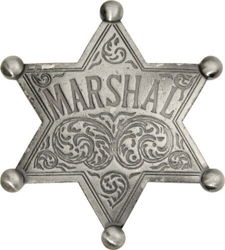 """Badges Of The Old West Marshal Badge MI3008 Measures approximately 2 1/8"""" x 2 3/"""