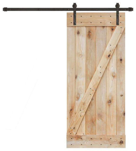 36u201d x 84u201d solid core unfinished plank knotty pine barn wood sliding interior door
