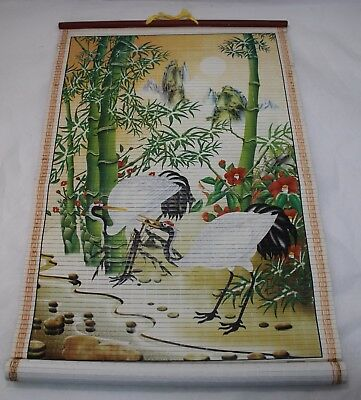 Bamboo Scroll Wall Hanging  Hand Painted Cranes China Art 2009 Calendar