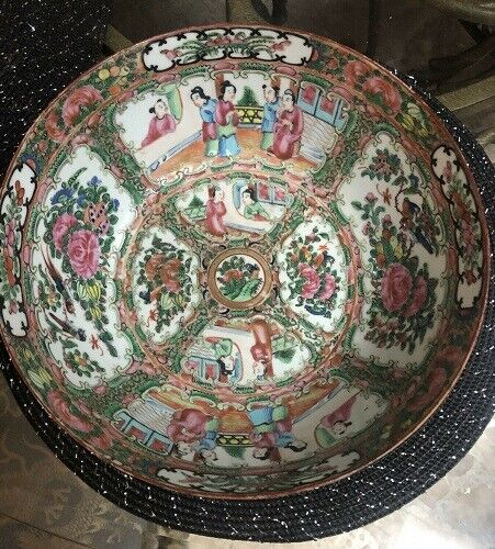 "Circa 1800s Antique Chinese Famille Rose Medallion Bowl 10"" Porcelain Export"
