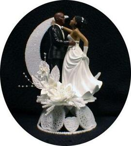 Black Bride And Groom Cake Topper