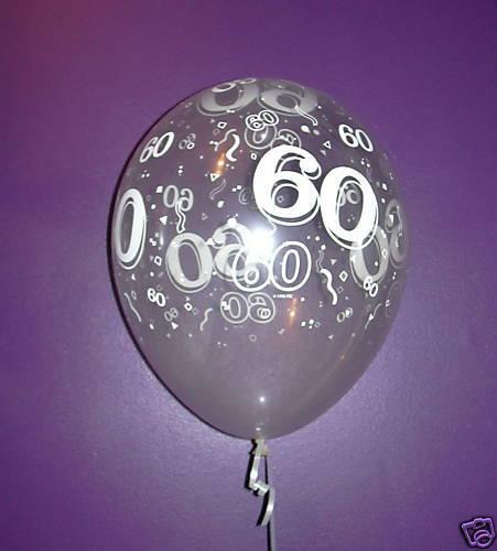 Qualatex 11'' (28cm) 60th Birthday Latex Balloons Clear with White Print