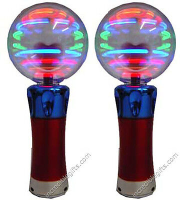 MAGIC SPINNING LIGHT- UP WAND CRAZY FLASHING DISCO BALL PARTY TOY 7.5